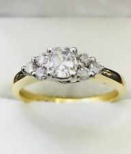 18k solid yellow gold natural cushion diamond engagement ring wedding 0.66 ct