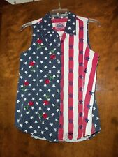 Cambridge Country Store Dry Goods Patriotic Cotton Collared Sleeveless Shirt Med