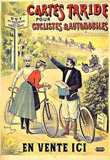Art Ad Cartes Taride Bicycle maps Bike Cycle  Deco Poster Print