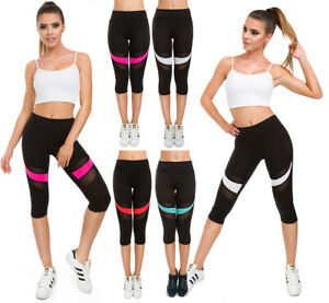 Womens Solid High Waist Sport Leggings with Neon Insert Capri Activewear G230
