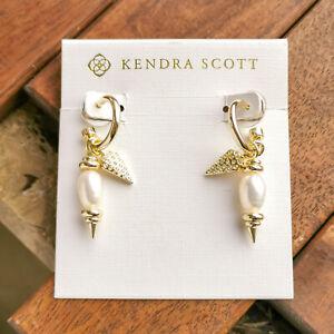 Kendra Scott Demi Huggie Earrings Set Gold White Baroque Pearl