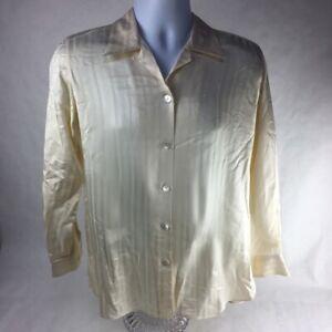 Moreno Martini Da Firenze Mens Button Up Shirt Yellow Stripe Loop Collar Silk S