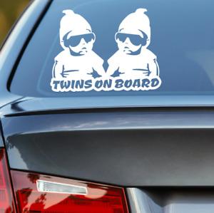 Twins On Board Sticker Vinyl Car Decal Mum Life 250mm x 185mm