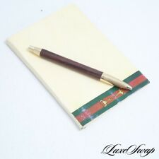 RARE Vintage Gucci 1980s Italy Gold & Wood Ballpoint Pen Notepad Writing Pad Set