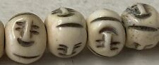 30 Beads 10mm Carved Face On Bead Bone, natural, white and brown As Pictured