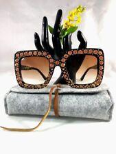 Sunglasses Crystal Rim Fashion Design Women Sun Glasses Square Oversize Frame