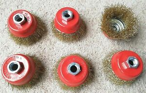 6 x Wire Cup Brush  for Angle Grinder ,Crimped, Brass Coated steel 75mm diameter