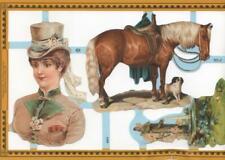 EQUESTRIAN WOMAN-HORSE-DOG Water Well Victorian DieCut Paper Scrapbook Mamelok