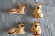 Vintage Siamese Cats Kittens Figurines Bone China Taiwan Set of 4