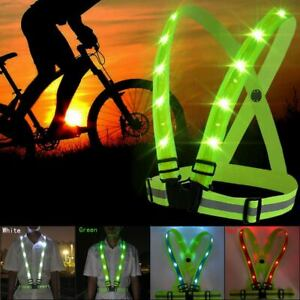 USB Reflective Vest LED Light Safety Stripes Running Walk Cycling Night Jacket
