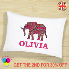 PERSONALISED Cushion Cover Pillow Case ELEPHANT Gift for Girls and Boys Mandala