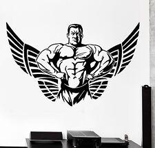 Wall Sticker Sport Crossfit Bodybuilder Muscle Man Winged Star Decal (z3080)