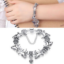 Women Silver Animal Bracelet Glass Beads Bracelets Horse Bangle Nice Jewelry TB