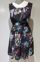 Alive Girl Fit & Flare Dress Sz 10 Black Floral Peep Back Pinup Retro Rockabilly