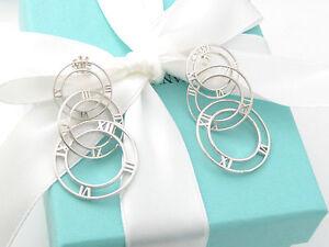Tiffany & Co Silver Atlas Triple 3 Circle Dangle Dangling Earrings Box Pouch