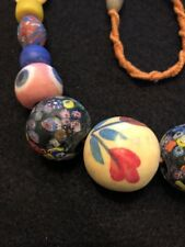 """20.75"""" Large Antique Mixed Color & Shape Art Glass Trade Bead Strand"""