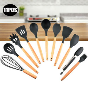 11Pcs Silicone Kitchen Cooking Utensils Set Tools Non-stick Spatula Spoon New