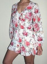 New Women's Size Medium Show Me Your Mumu Ivory Pink Roses Floral Rocky Romper