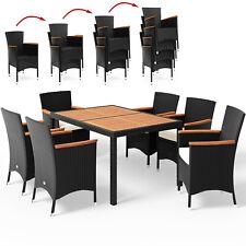 Sitzgruppe Gartenmöbel Sitzgarnitur Essgruppe Poly Rattan Akazie Holz Garten 6+1