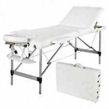 Aluminum 3 Fold Portable Massage Table Facial Spa Bed Tattoo w/Carry Case White