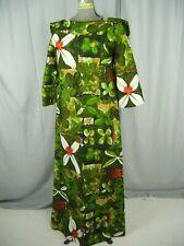 Vtg 60-70s Hawaiian Green White Floral Wide Neckline Cotton Dress-Bust 38/M