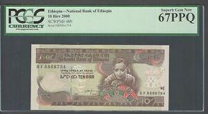 Ethiopia 10 Birr 2000 P48b Uncirculated Graded 67