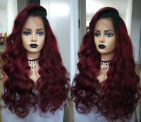 Body Wave Ombre Burgundy Full Lace Human Hair Wigs 13X6 Lace Front Wigs Red Wigs