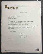 Signed Jim Finks New Orleans Saints Letterhead AUTOGRAPH Died 1994 COA HOF AUTO