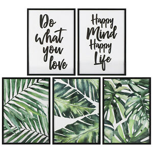 Set Of 5 A4 TROPICAL BOTANICAL LEAF & QUOTES WALL ART PICTURES IN BLACK FRAMES