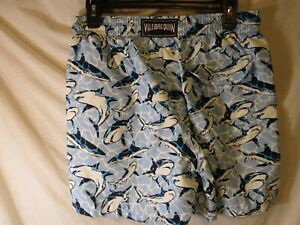 "Medium Blue & White  VILEBREQUIN ""Sharks"" Swim Trunks/Bathing Suit"