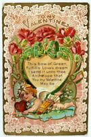 """Vintage VALENTINE POSTCARD  Lace Cherub """"THIS BOW OF GREEN"""" Embossed"""