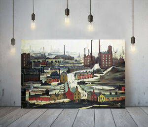 LOWRY STYLE INDUSTRIAL LANDSCAPE -FRAMED CANVAS ART PICTURE PAPER PRINT- RED
