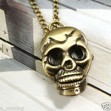 New Retro Men Women Pocket Watch Punk Skull Bronze Necklace Chain Halloween Gift