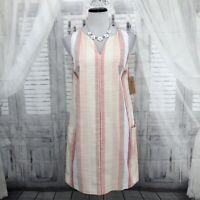 Cremieux Womens XS Pink White V Neck Striped Sleeveless Shift Dress Cotton B46