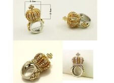 3D Crown Ring with Gold Gold color Size 9