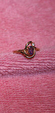 Vintage Cut Purple Stone & Rhinestone Accent Gold-tone Taiwan Ring Size 5 ¾