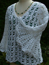 Handmade White Lacey Crochet 70s Bell Sleeve Boho Sweater Jumper Quality Cotton