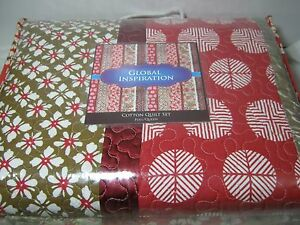 CMN Home Global Inspiration Sakura Full/Queen Quilt & Shams Set Red - Floral NIP