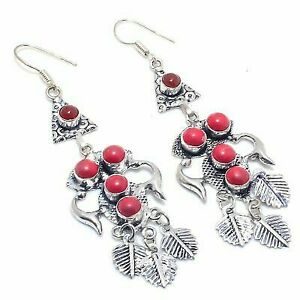 """Italian Red Coral Gemstone 925 Sterling Silver Jewelry Earring 2.36 """""""