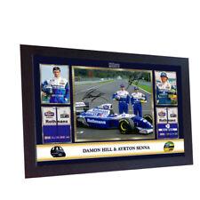 AYRTON Senna DAMON HILL FORMULA 1 Firmato Autografo foto stampa con struttura in MDF