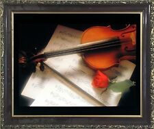 Violin & Music Sheet Red Rose Flower Picture Wall Decor Mahogany Framed (20x24)