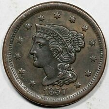 1857 N-4 Small Date Braided Hair Large Cent Coin 1c