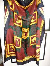 Lana Marks hand rolled silk scarf 34 x 35 elephants trees maroon green gold blk