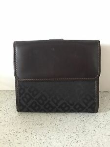 BALLY Wallet Logo Print Leather Nylon Brown with Coin Case & Cards Notes Insert