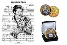 Elvis Presley - 24Kt oro plateado de celda Rock JFK Kennedy medio dólar moneda