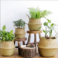 Seagrass Belly Basket Storage Plant Pot Foldable Nursery Laundry BagRoom Deco FE