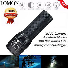 LOMON 3000 Lumen LED Tactical Flashlight Zoom Trombone Torch Lamp Waterproof AAA