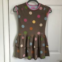 Joules Little Joules Girls Dress Age 7 Brown Spots Polka Dots 122cm Height