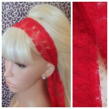 RED FLORAL LACE 50s VINTAGE 80s RETRO STYLE HEAD SCARF HAIR BAND SELF TIE BOW