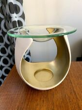 Partylite Tealight Melt Warmer Diffuser Gold White - Sold with a ScentPlus Melt
